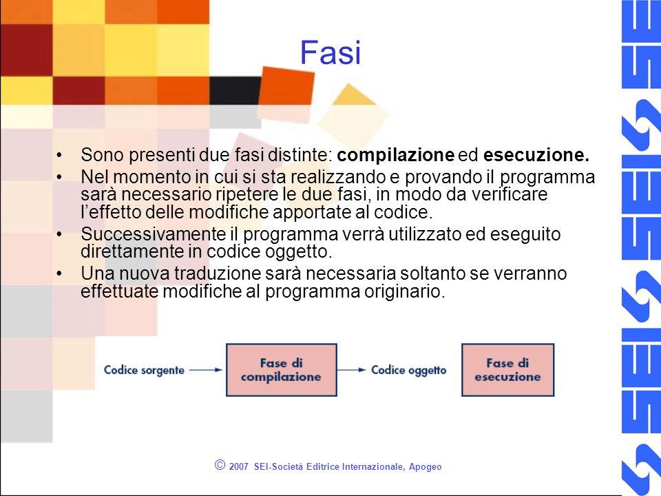 © 2007 SEI-Società Editrice Internazionale, Apogeo Fasi Sono presenti due fasi distinte: compilazione ed esecuzione. Nel momento in cui si sta realizz
