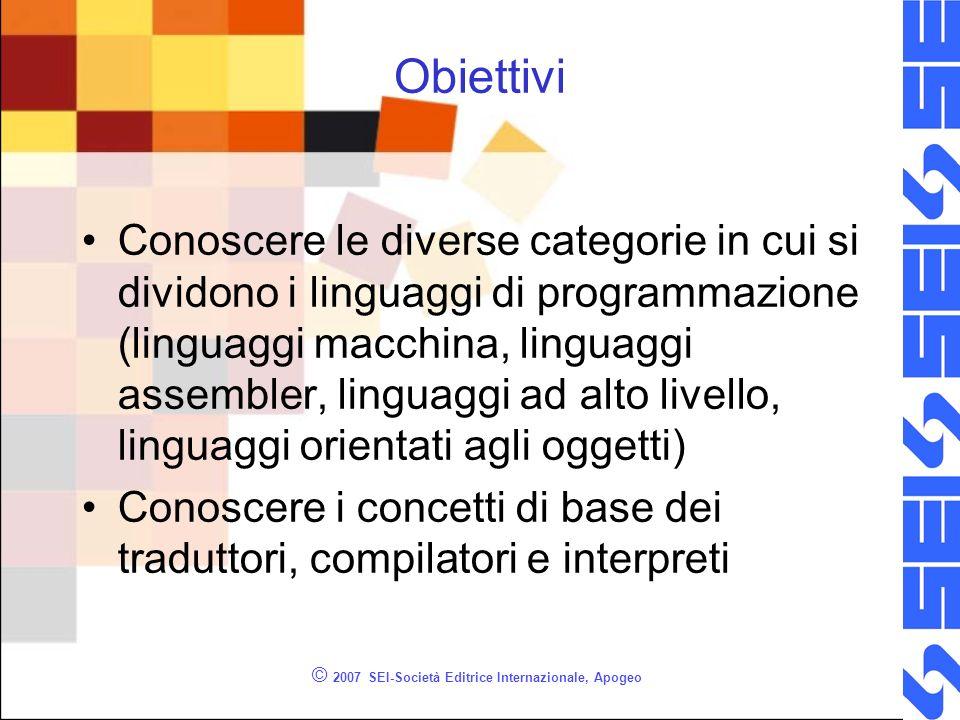 © 2007 SEI-Società Editrice Internazionale, Apogeo Obiettivi Conoscere le diverse categorie in cui si dividono i linguaggi di programmazione (linguagg
