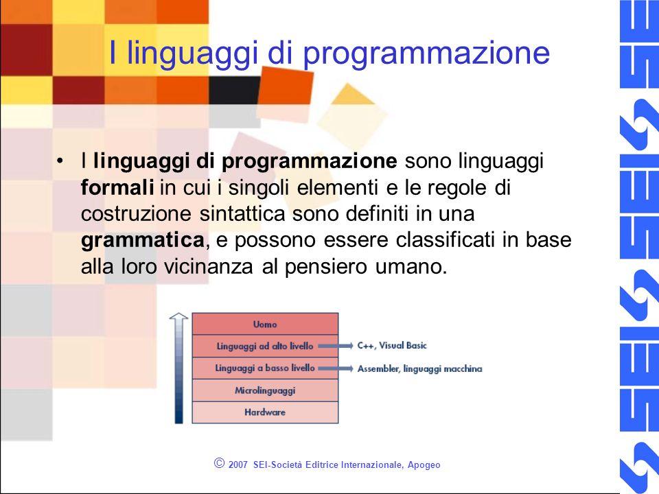 © 2007 SEI-Società Editrice Internazionale, Apogeo I linguaggi di programmazione I linguaggi di programmazione sono linguaggi formali in cui i singoli