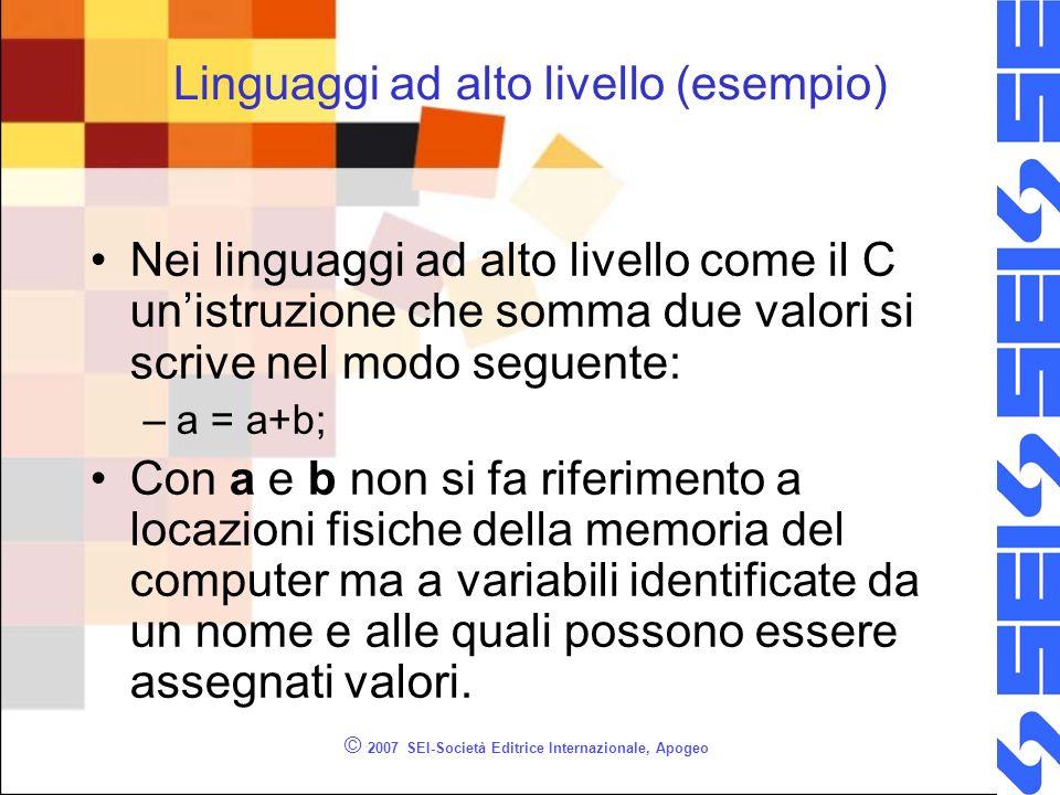 © 2007 SEI-Società Editrice Internazionale, Apogeo Linguaggi ad alto livello (esempio) Nei linguaggi ad alto livello come il C unistruzione che somma