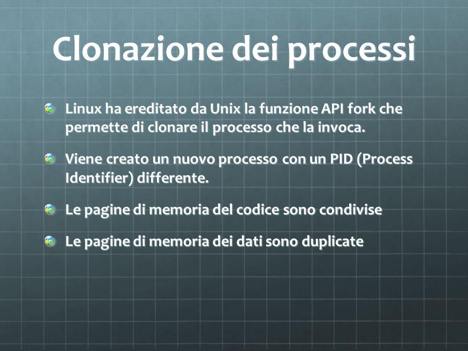 Clonazione dei processi Linux ha ereditato da Unix la funzione API fork che permette di clonare il processo che la invoca. Viene creato un nuovo proce