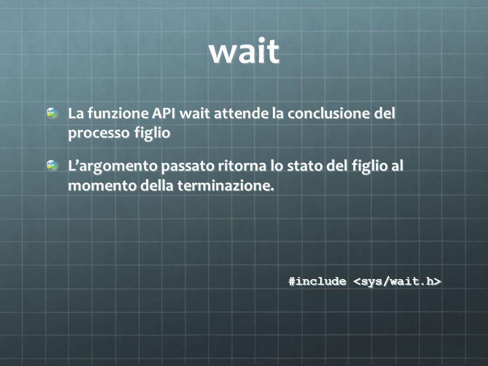 wait La funzione API wait attende la conclusione del processo figlio Largomento passato ritorna lo stato del figlio al momento della terminazione. #in