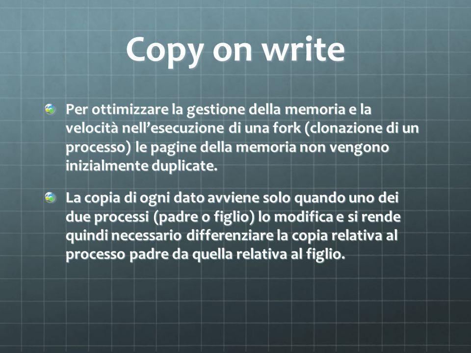 Copy on write Per ottimizzare la gestione della memoria e la velocità nellesecuzione di una fork (clonazione di un processo) le pagine della memoria n