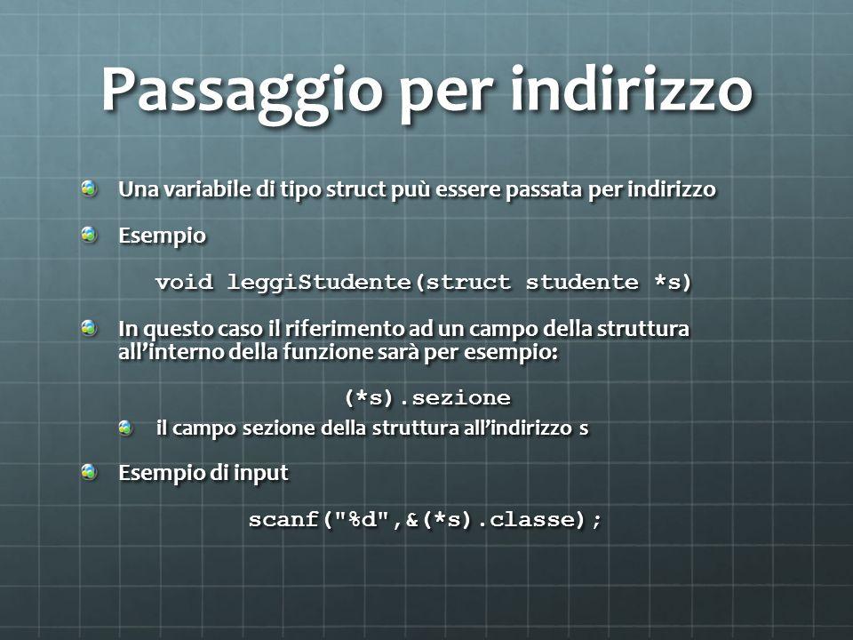 Passaggio per indirizzo Una variabile di tipo struct puù essere passata per indirizzo Esempio void leggiStudente(struct studente *s) In questo caso il riferimento ad un campo della struttura allinterno della funzione sarà per esempio: (*s).sezione il campo sezione della struttura allindirizzo s Esempio di input scanf( %d ,&(*s).classe);