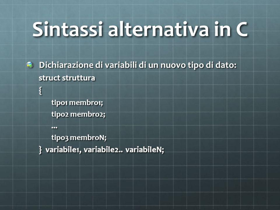 Sintassi alternativa in C Dichiarazione di variabili di un nuovo tipo di dato: struct struttura { tipo1 membro1; tipo2 membro2;...