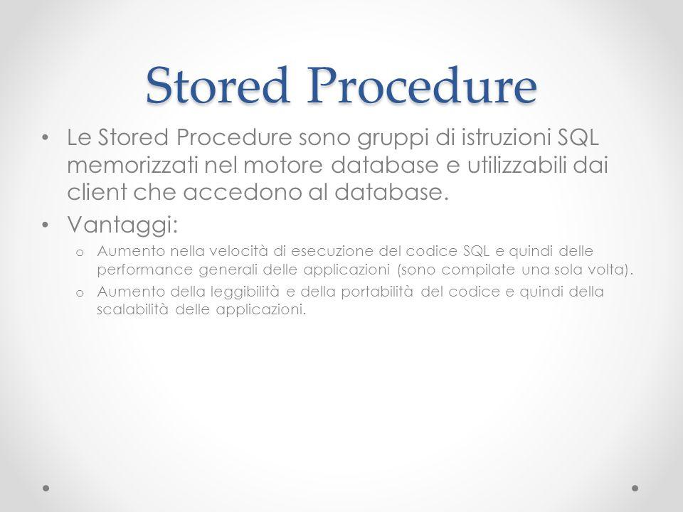 Esempio (creazione) -- ******* Creazione della Stored Procedure ******** CREATE PROCEDURE Vis_dati -- Parametri della procedura @par_cognome varchar(50) AS BEGIN -- Definizione del funzionamento della procedura SELECT * FROM Studenti WHERE cognome=@par_cognome END -- *************************************************