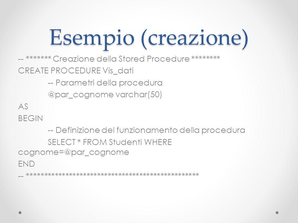 Esempio (creazione) -- ******* Creazione della Stored Procedure ******** CREATE PROCEDURE Vis_dati -- Parametri della procedura @par_cognome varchar(5