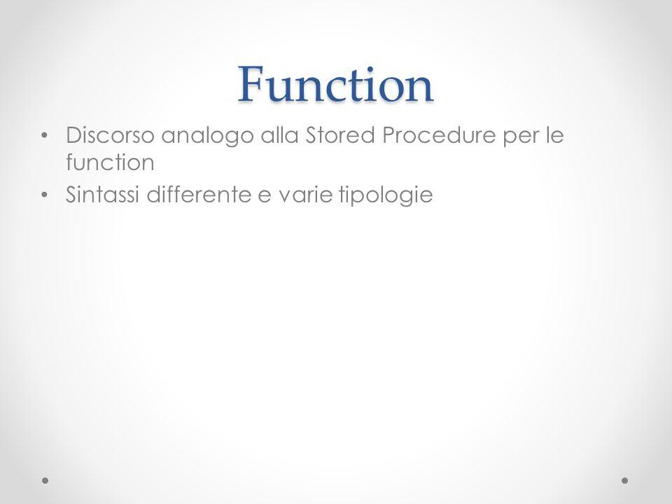 Esempio (creazione) CREATE FUNCTION F_Visualizza ( @parcognome Varchar(50) ) RETURNS TABLE AS RETURN ( SELECT * FROM Studenti WHERE cognome = @parcognome )