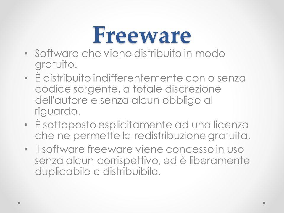 Freeware Software che viene distribuito in modo gratuito. È distribuito indifferentemente con o senza codice sorgente, a totale discrezione dell'autor