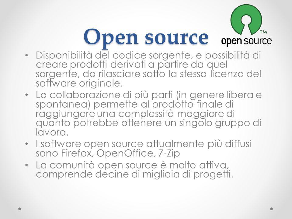 Open source Disponibilità del codice sorgente, e possibilità di creare prodotti derivati a partire da quel sorgente, da rilasciare sotto la stessa lic