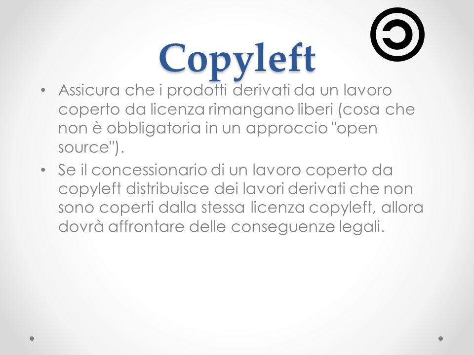 Copyleft Assicura che i prodotti derivati da un lavoro coperto da licenza rimangano liberi (cosa che non è obbligatoria in un approccio