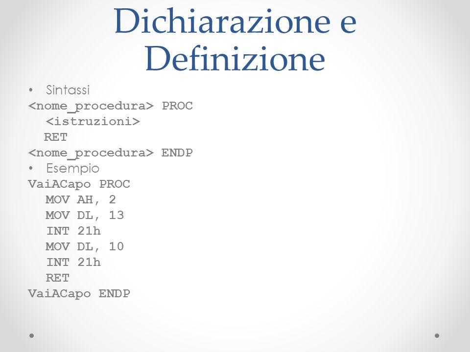 Dichiarazione e Definizione Sintassi PROC RET ENDP Esempio VaiACapo PROC MOV AH, 2 MOV DL, 13 INT 21h MOV DL, 10 INT 21h RET VaiACapo ENDP