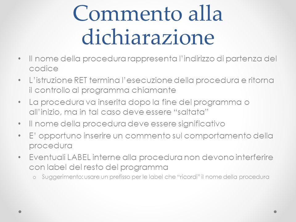 Commento alla dichiarazione Il nome della procedura rappresenta lindirizzo di partenza del codice Listruzione RET termina lesecuzione della procedura