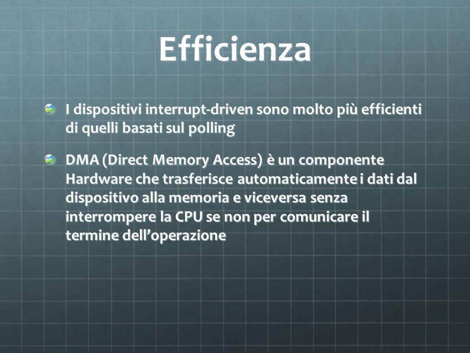 Efficienza I dispositivi interrupt-driven sono molto più efficienti di quelli basati sul polling DMA (Direct Memory Access) è un componente Hardware c
