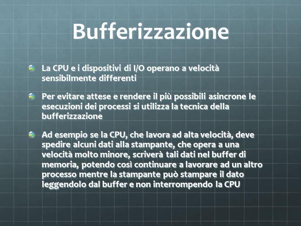 Bufferizzazione La CPU e i dispositivi di I/O operano a velocità sensibilmente differenti Per evitare attese e rendere il più possibili asincrone le e