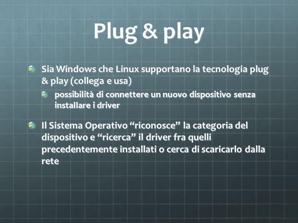 Plug & play Sia Windows che Linux supportano la tecnologia plug & play (collega e usa) possibilità di connettere un nuovo dispositivo senza installare