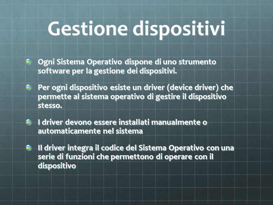 Gestione dispositivi Ogni Sistema Operativo dispone di uno strumento software per la gestione dei dispositivi. Per ogni dispositivo esiste un driver (