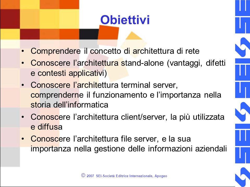 © 2007 SEI-Società Editrice Internazionale, Apogeo Obiettivi Comprendere il concetto di architettura di rete Conoscere larchitettura stand-alone (vant