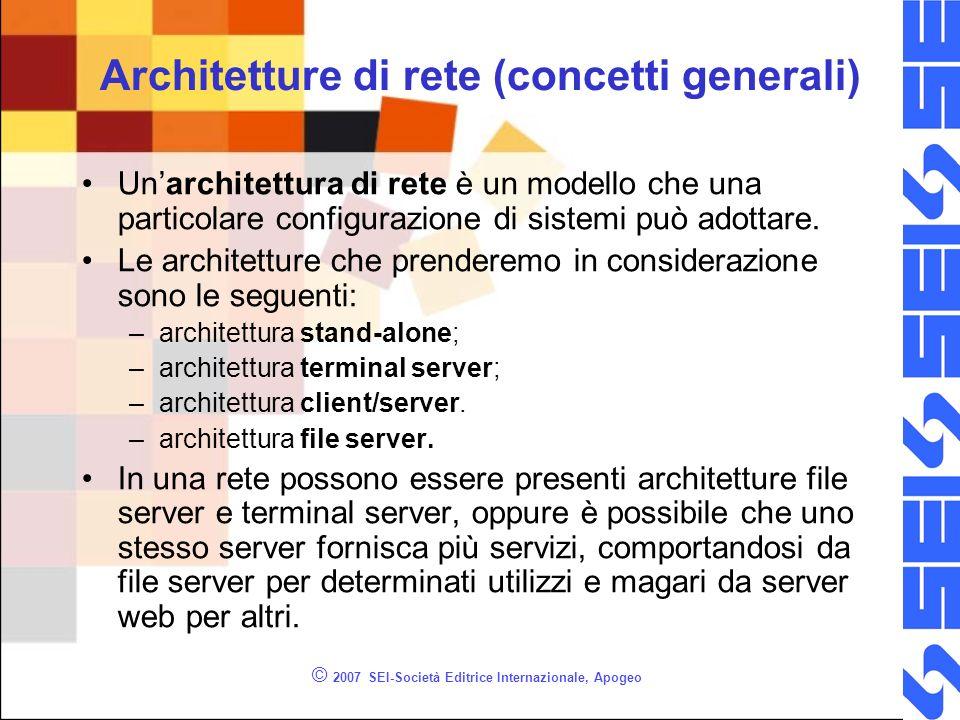 © 2007 SEI-Società Editrice Internazionale, Apogeo Architetture di rete (concetti generali) Unarchitettura di rete è un modello che una particolare co