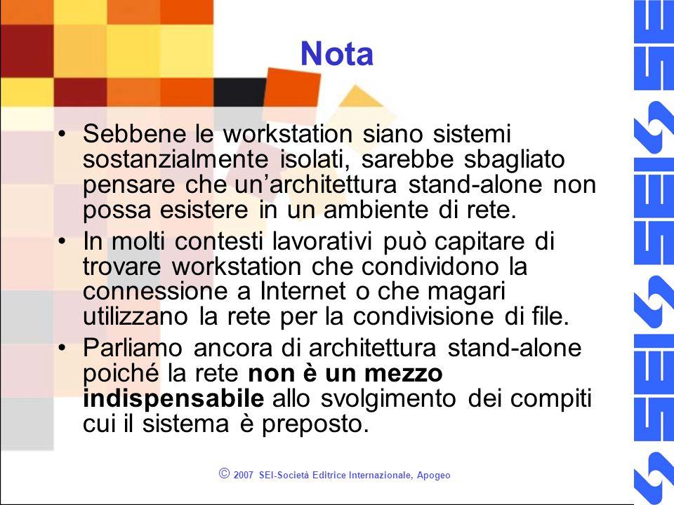 © 2007 SEI-Società Editrice Internazionale, Apogeo Nota Sebbene le workstation siano sistemi sostanzialmente isolati, sarebbe sbagliato pensare che un
