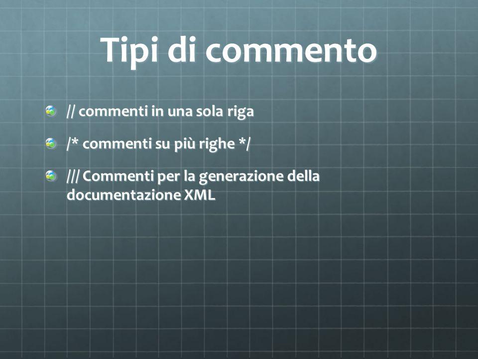 Commenti per documentazione In VisualStudio (anche nelle versioni gratuite express) la digitazione di /// genera la struttura per i commenti di documentazione I commenti sono organizzati in tag