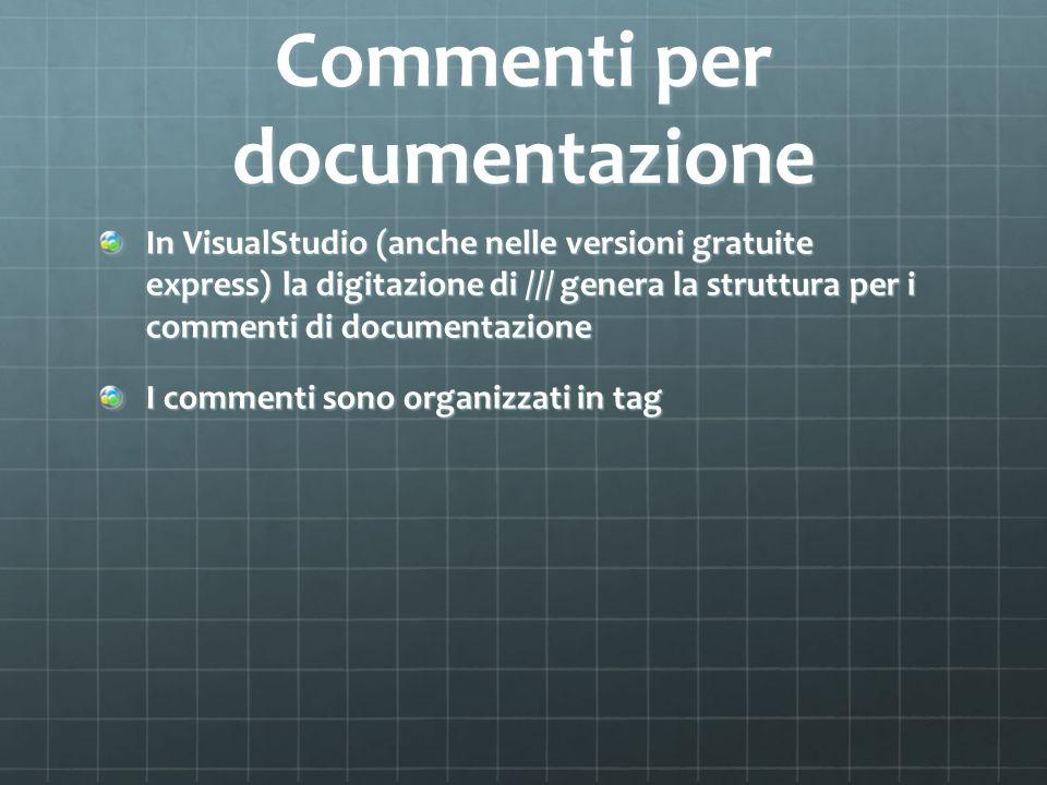 Commenti per documentazione In VisualStudio (anche nelle versioni gratuite express) la digitazione di /// genera la struttura per i commenti di docume