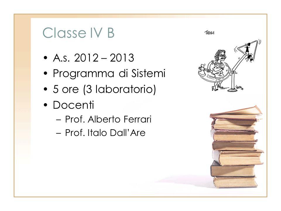 Classe IV B A.s. 2012 – 2013 Programma di Sistemi 5 ore (3 laboratorio) Docenti –Prof. Alberto Ferrari –Prof. Italo DallAre