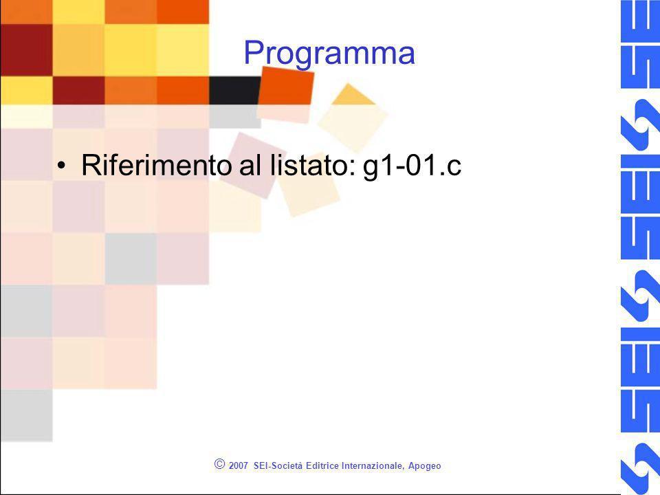 © 2007 SEI-Società Editrice Internazionale, Apogeo Programma Riferimento al listato: g1-01.c