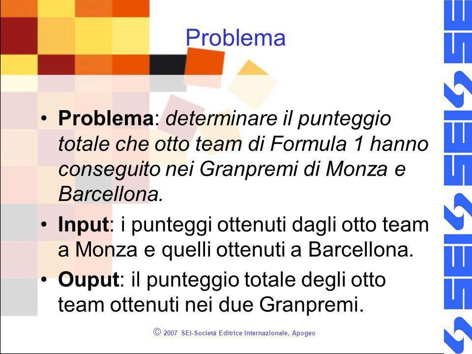 © 2007 SEI-Società Editrice Internazionale, Apogeo Problema Problema: determinare il punteggio totale che otto team di Formula 1 hanno conseguito nei Granpremi di Monza e Barcellona.