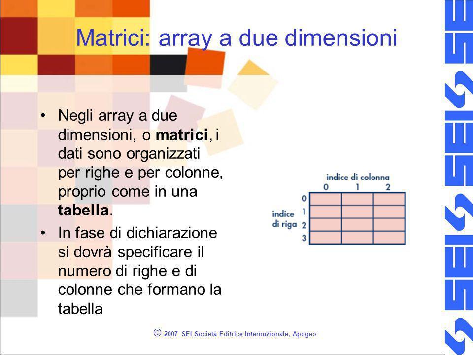 © 2007 SEI-Società Editrice Internazionale, Apogeo Matrici: array a due dimensioni Negli array a due dimensioni, o matrici, i dati sono organizzati per righe e per colonne, proprio come in una tabella.