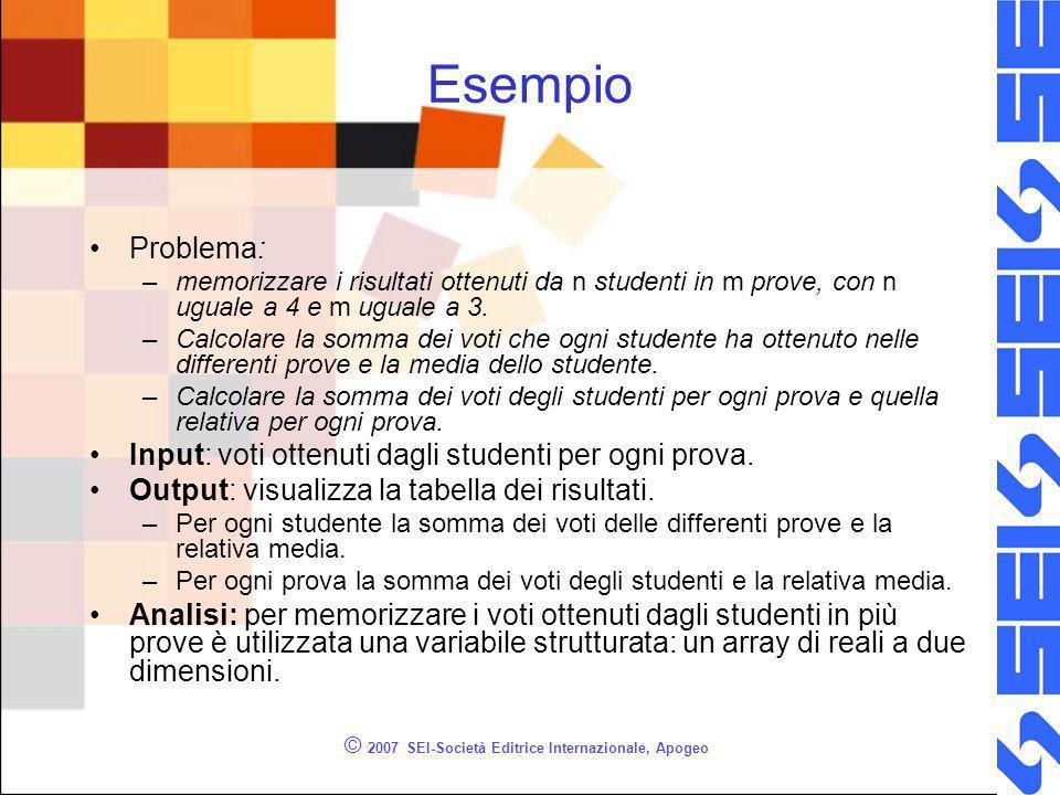 © 2007 SEI-Società Editrice Internazionale, Apogeo Esempio Problema: –memorizzare i risultati ottenuti da n studenti in m prove, con n uguale a 4 e m uguale a 3.