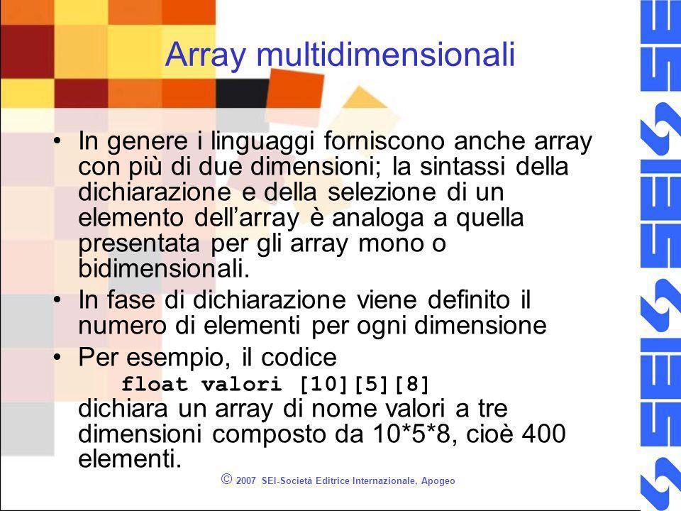 © 2007 SEI-Società Editrice Internazionale, Apogeo Array multidimensionali In genere i linguaggi forniscono anche array con più di due dimensioni; la sintassi della dichiarazione e della selezione di un elemento dellarray è analoga a quella presentata per gli array mono o bidimensionali.