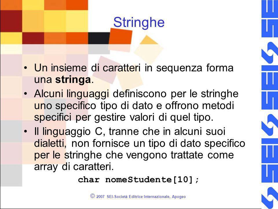 © 2007 SEI-Società Editrice Internazionale, Apogeo Stringhe Un insieme di caratteri in sequenza forma una stringa.