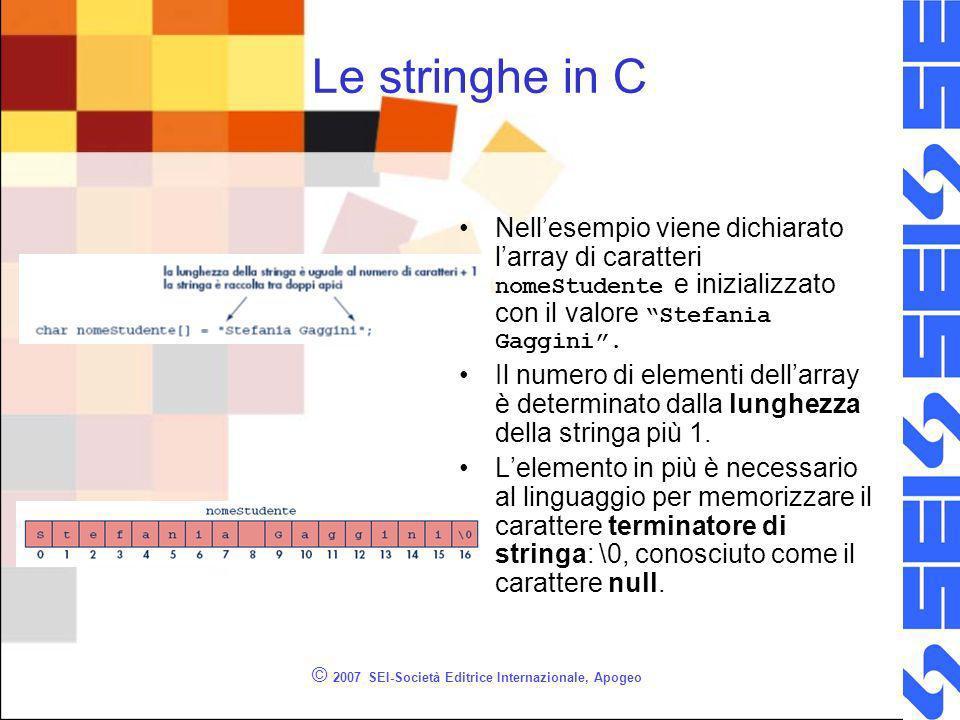 © 2007 SEI-Società Editrice Internazionale, Apogeo Le stringhe in C Nellesempio viene dichiarato larray di caratteri nomeStudente e inizializzato con il valore Stefania Gaggini.