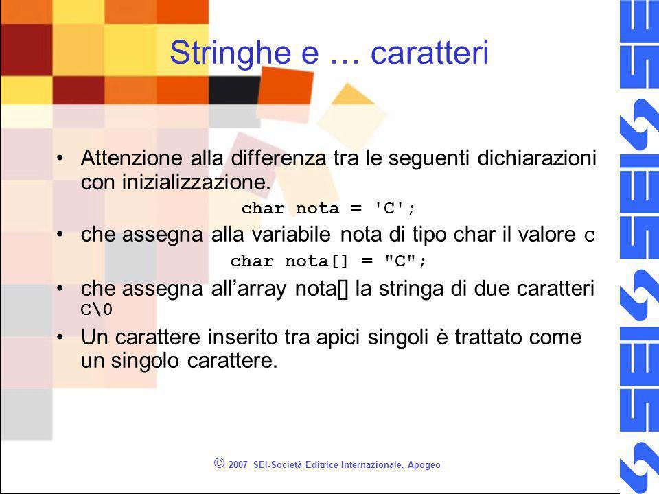 © 2007 SEI-Società Editrice Internazionale, Apogeo Stringhe e … caratteri Attenzione alla differenza tra le seguenti dichiarazioni con inizializzazione.