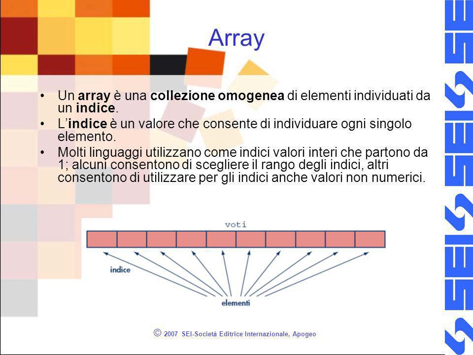 © 2007 SEI-Società Editrice Internazionale, Apogeo Array Un array è una collezione omogenea di elementi individuati da un indice.