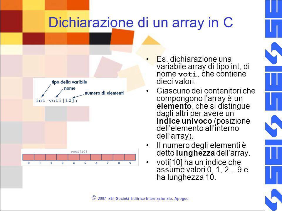 © 2007 SEI-Società Editrice Internazionale, Apogeo Dichiarazione di un array in C Es.