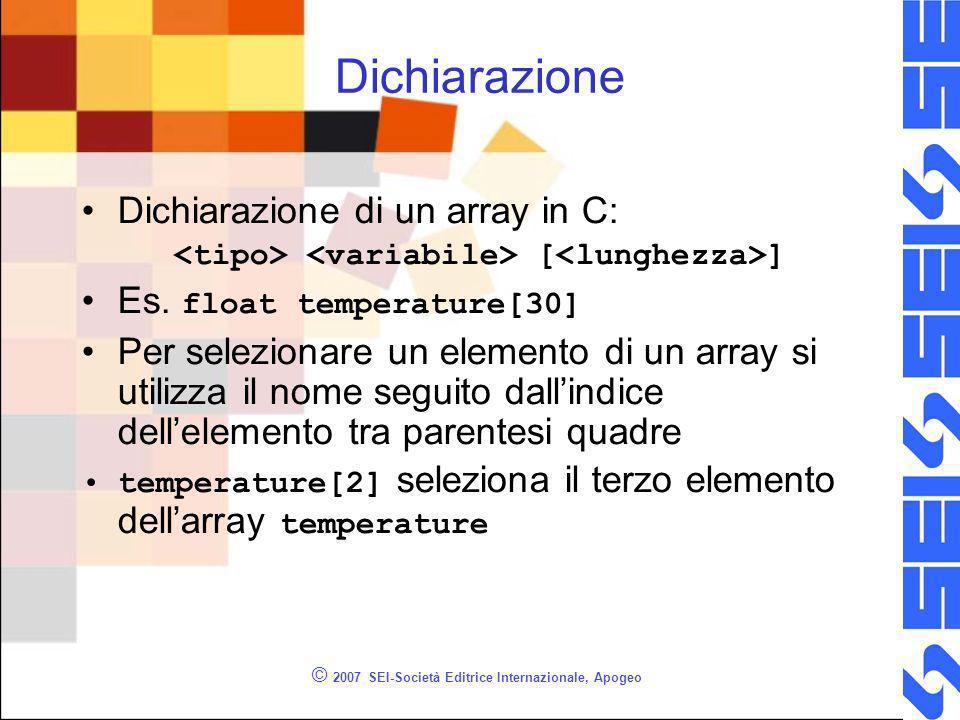 © 2007 SEI-Società Editrice Internazionale, Apogeo Dichiarazione Dichiarazione di un array in C: [ ] Es.