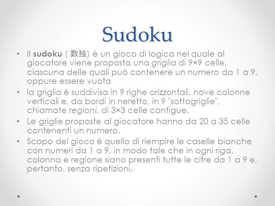 Sudoku Il sudoku ( ) è un gioco di logica nel quale al giocatore viene proposta una griglia di 9×9 celle, ciascuna delle quali può contenere un numero