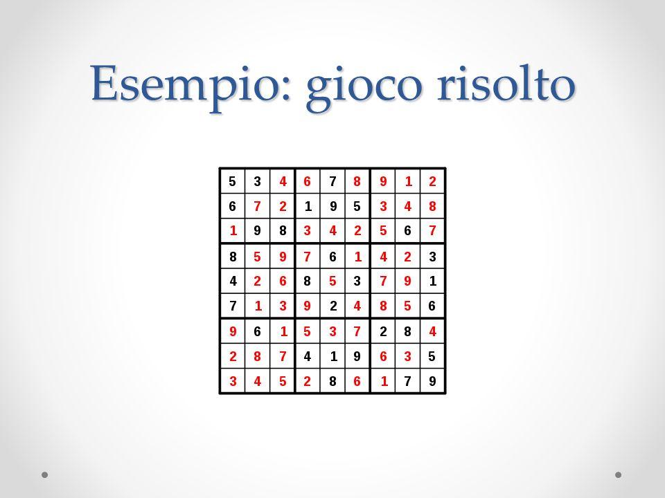 Soluzione 1 Si inserisce un numero in ogni cella vuota Si verifica che le regole del gioco siano rispettate Se qualche regola non è rispettata si prova con altri numeri Complessità o Il numero totale di celle è 81 o supponendo riempite 31 celle ne rimangono 50 o il numero di combinazioni possibili da provare è 9 50 (circa 5*10 47 ) o supponendo 1 nanosecondo per formulare una combinazione il tempo previsto è circa...