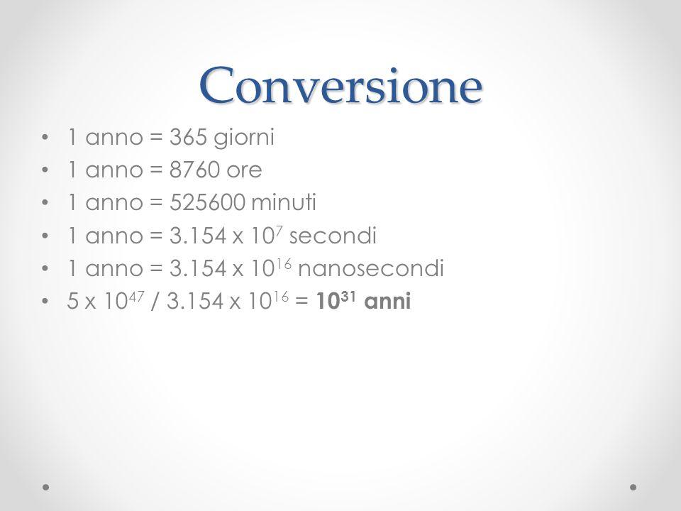 Conversione 1 anno = 365 giorni 1 anno = 8760 ore 1 anno = 525600 minuti 1 anno = 3.154 x 10 7 secondi 1 anno = 3.154 x 10 16 nanosecondi 5 x 10 47 / 3.154 x 10 16 = 10 31 anni
