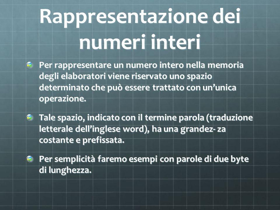 Rappresentazione dei numeri interi Per rappresentare un numero intero nella memoria degli elaboratori viene riservato uno spazio determinato che può̀