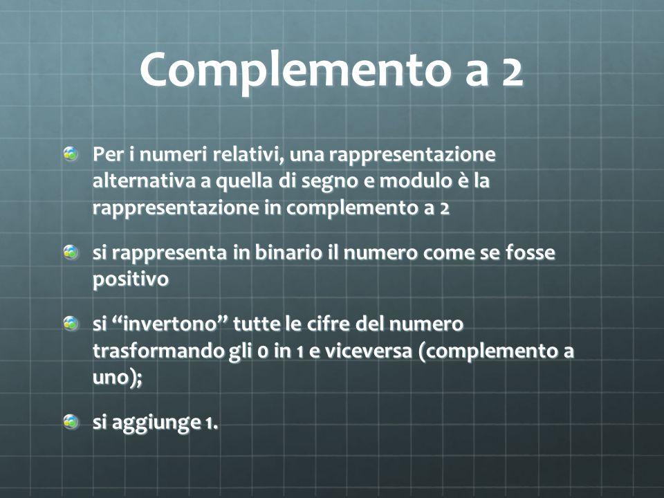 Complemento a 2 Per i numeri relativi, una rappresentazione alternativa a quella di segno e modulo è la rappresentazione in complemento a 2 si rappres
