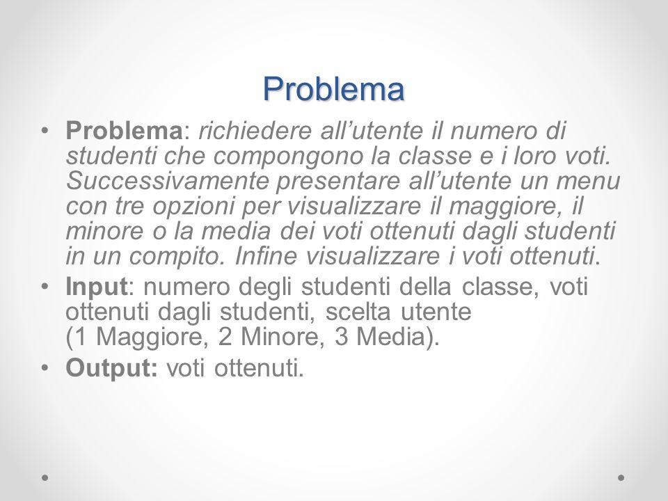 Problema Problema: richiedere allutente il numero di studenti che compongono la classe e i loro voti. Successivamente presentare allutente un menu con