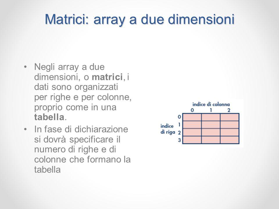 Matrici: array a due dimensioni Negli array a due dimensioni, o matrici, i dati sono organizzati per righe e per colonne, proprio come in una tabella.