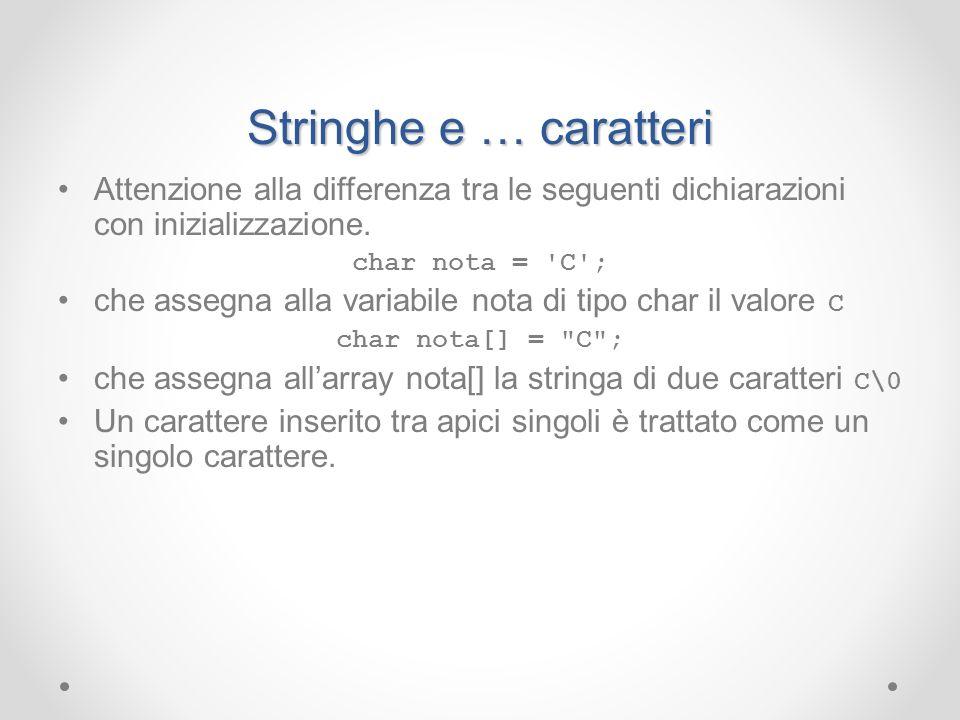 Stringhe e … caratteri Attenzione alla differenza tra le seguenti dichiarazioni con inizializzazione. char nota = 'C'; che assegna alla variabile nota
