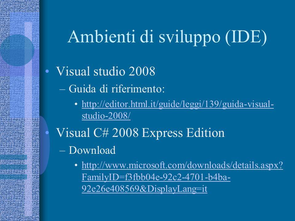 Manuali (stampa) C# - Apogeo Pocket - Enrico Amedeo, Giuseppe Marchi - 7.20 –http://www.apogeonline.com/libri/88-503- 2391-3/scheda?id=5WCYPSRahttp://www.apogeonline.com/libri/88-503- 2391-3/scheda?id=5WCYPSRa