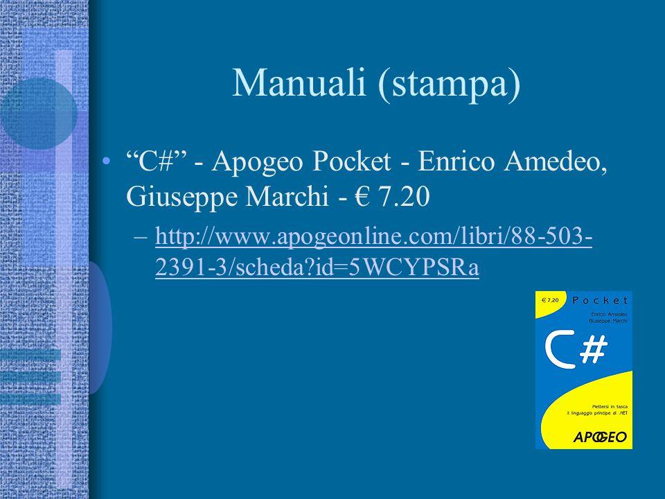 Manuali (web) Guida C# –http://www.csharp-station.com/Tutorial.aspxhttp://www.csharp-station.com/Tutorial.aspx