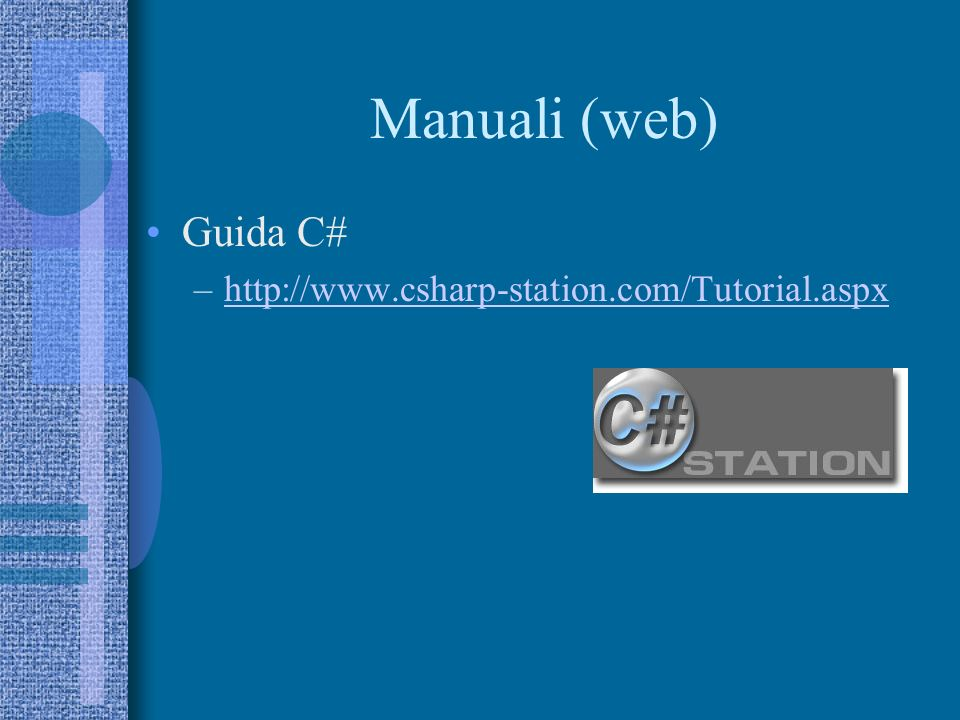 Esempio 1 using System; using System.Collections.Generic; using System.Linq; using System.Text; namespace Applicazione01_Console { class Program { static void Main(string[] args) { Console.WriteLine( Prima applicazione C# ); Console.ReadLine(); }
