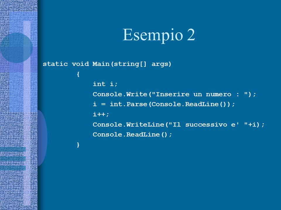Esempio 2 static void Main(string[] args) { int i; Console.Write( Inserire un numero : ); i = int.Parse(Console.ReadLine()); i++; Console.WriteLine( Il successivo e +i); Console.ReadLine(); }
